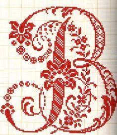 Abecedarios punto de cruz - Letras grandes muy elegantes B