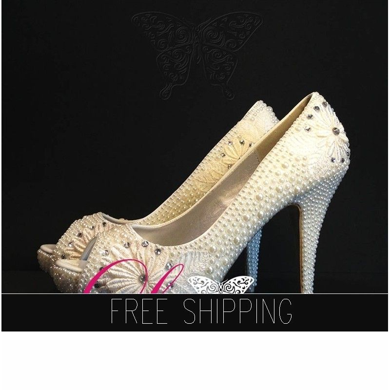 1. Top quality pearls with Floral Lace2. Featured heel: 5 heels, 1 1/4 platforms3. 100% handmade breathtaking quality!4. 15 DAYS PROCESSING nbsp;+ shipping time