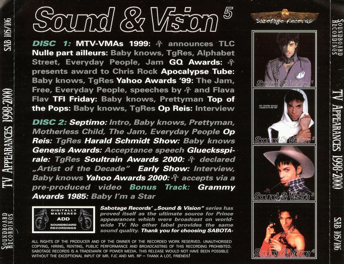 soundvision5-back | Prince Bootlegs | Movie posters, Poster, Prince