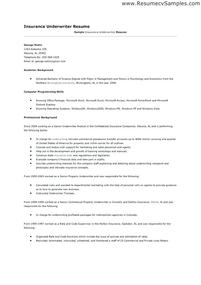 Insurance Resume Examples Sample Resumes Underwriting Assistant 9 Objectives For