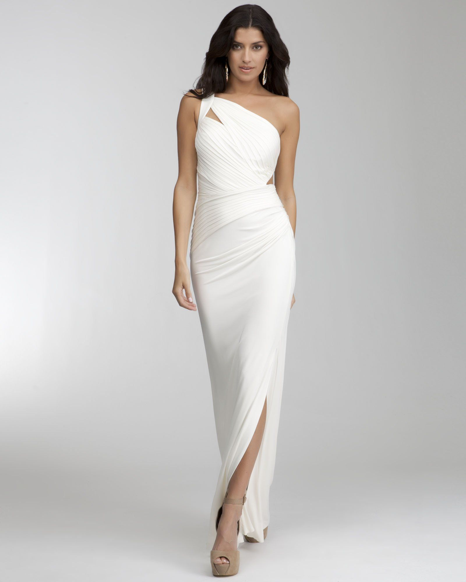 Bebe long one shoulder cutout dress could be a wedding dress