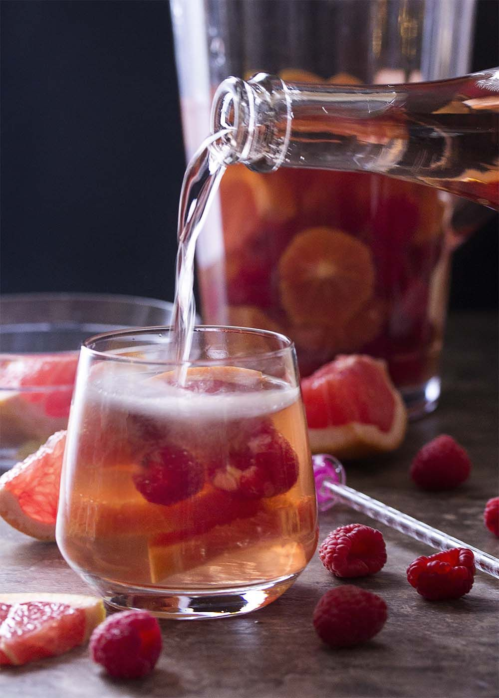Romantic Sparkling Rose Sangria Just A Little Bit Of Bacon Recipe Rose Sangria Sangria Recipes Red Sangria Recipes