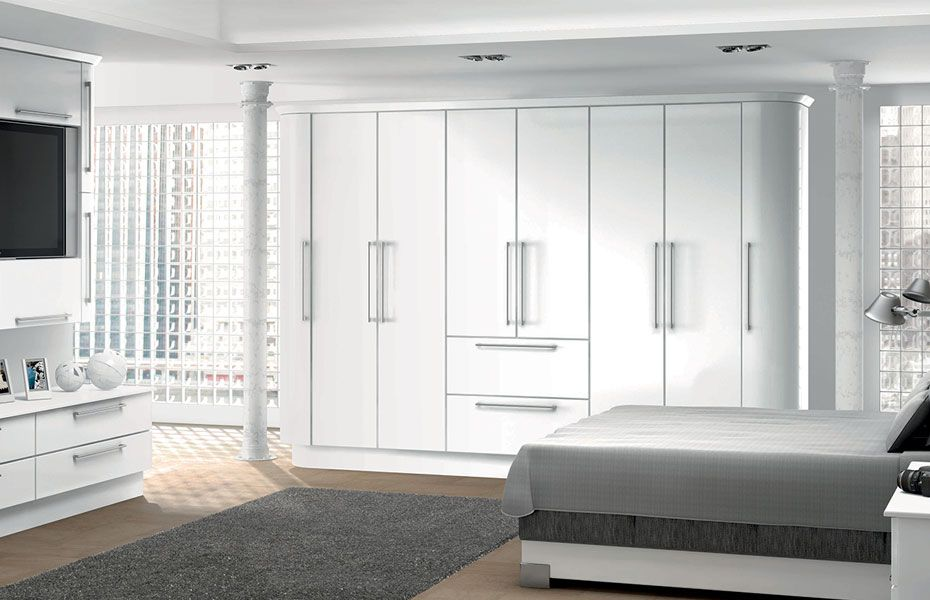 HOMESTYLEs range of Premier Duleek replacement wardrobe doors in High Gloss  White  Choose from 61 finishes and made to measure sizes. row of Full length high gloss white storage cupboards   Google