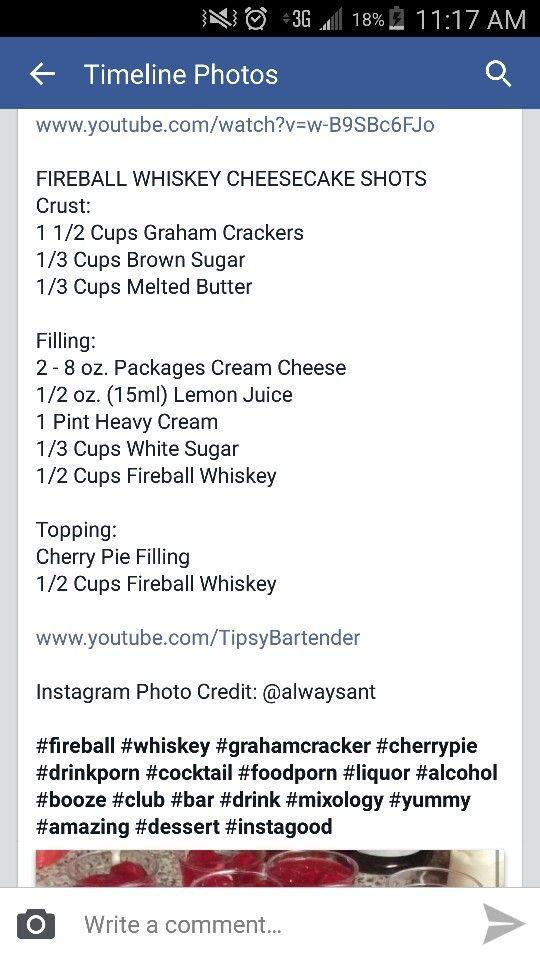Fireball cheesecake shots