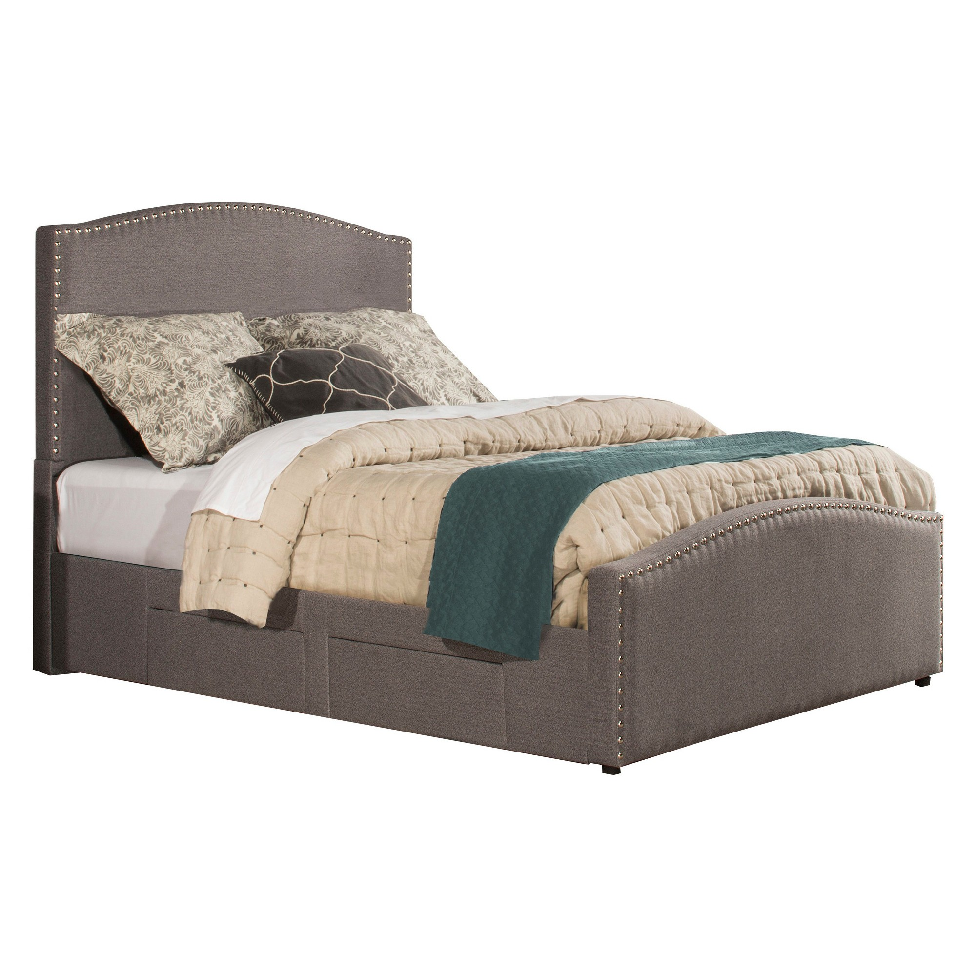 Kerstein Storage Bed Set With Rails   Cal King   Orly Gray Fabric    Hillsdale Furniture