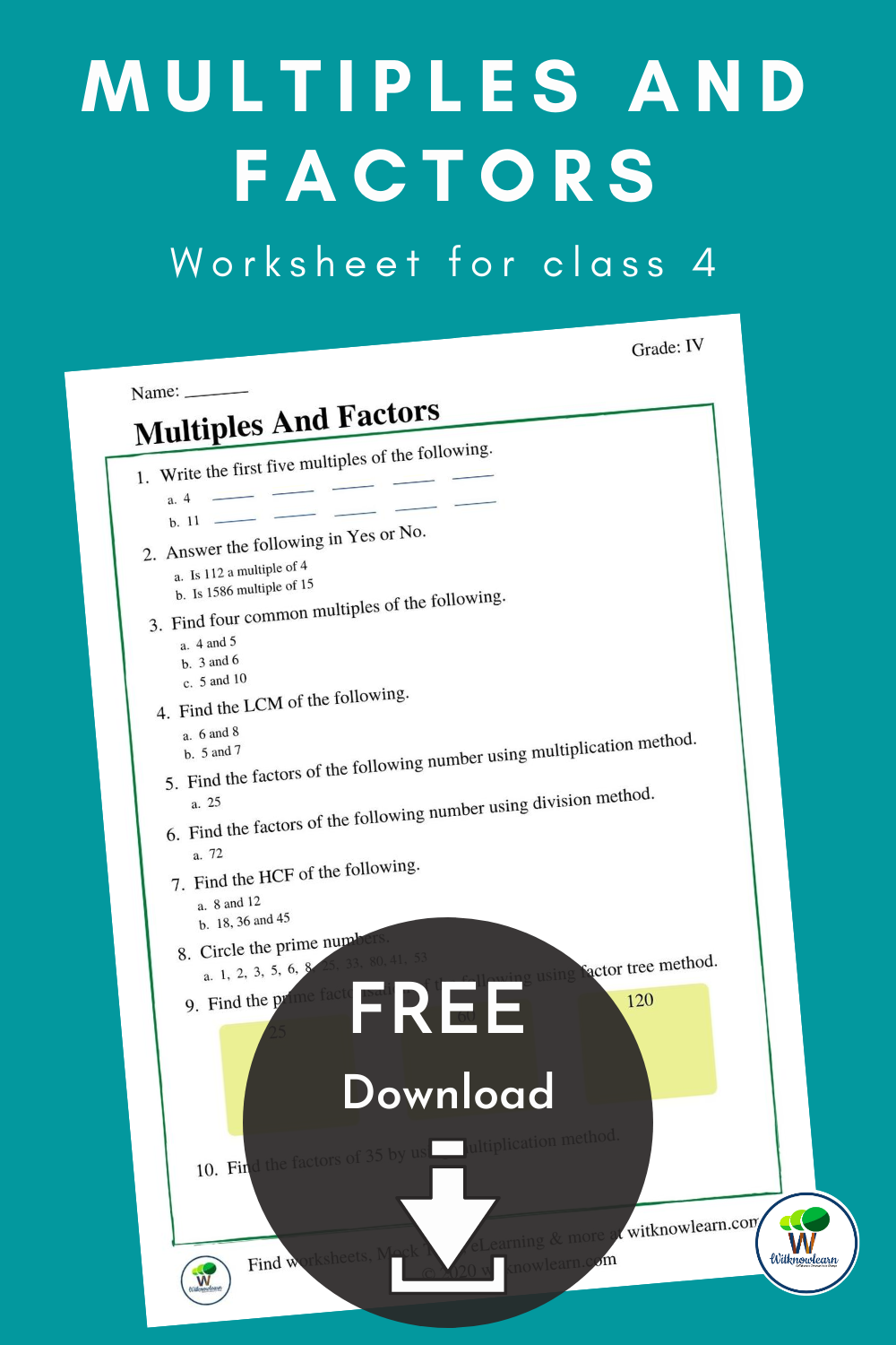 Multiples And Factors Worksheets Free Math Worksheets Class 4 Maths [ 1500 x 1000 Pixel ]