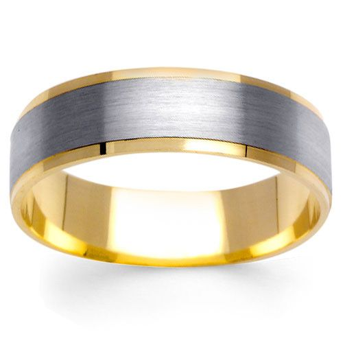 6mm Brushed Center 14K Two Tone Gold Mens Wedding Band Weddings
