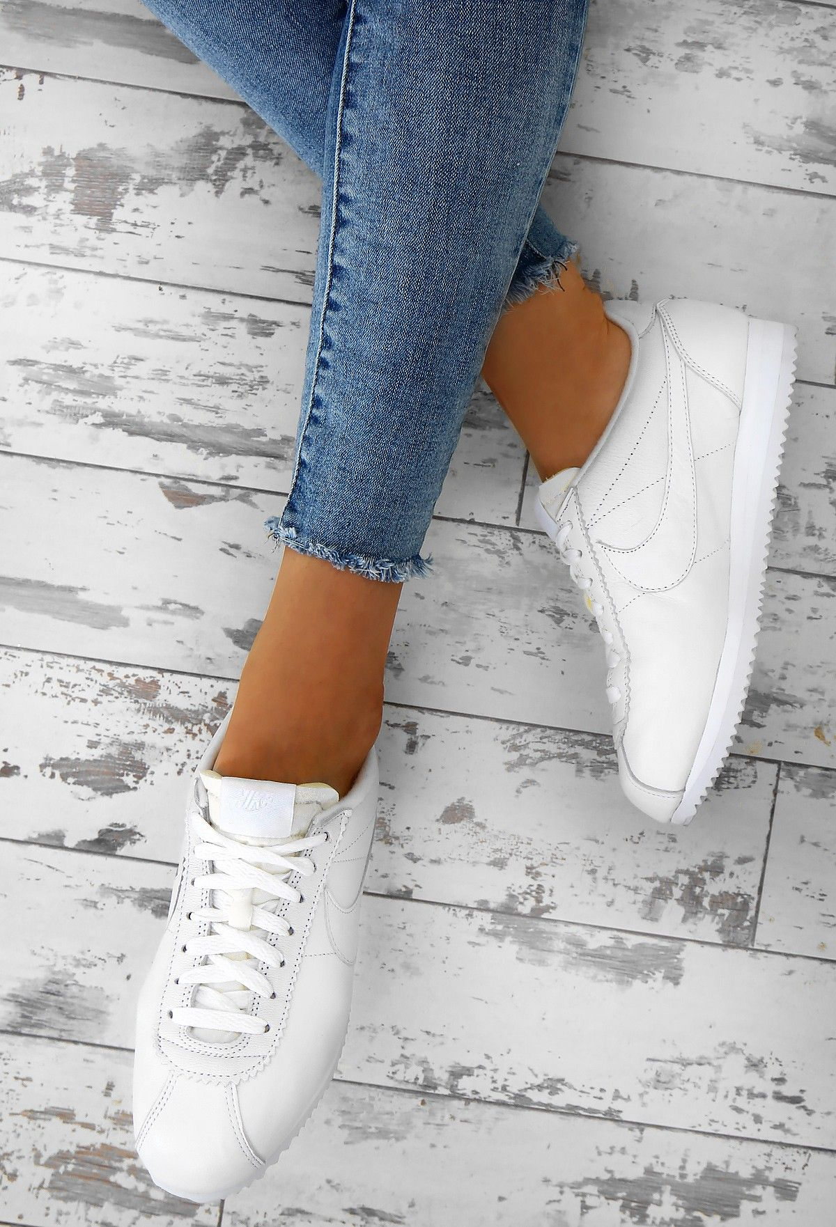 Nike Classic Cortez White Leather Trainers , UK 3 in 2020
