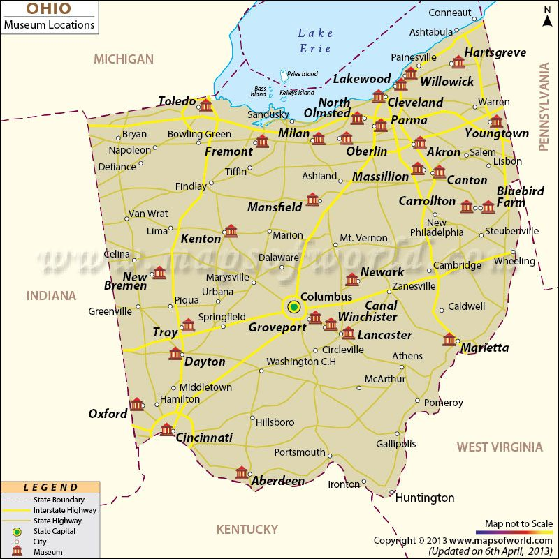 Ohio Museums Map Maps Pinterest Ohio, Museums and Ohio usa - blank road map