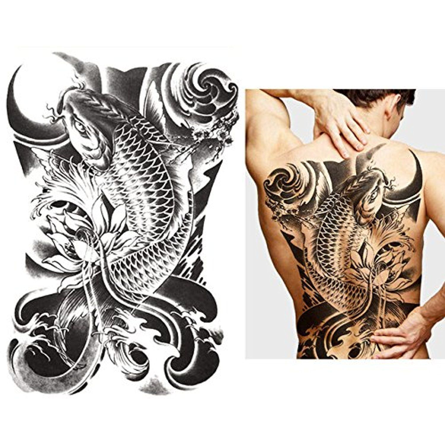 48f00c1c2 Oottati Extra Large Temporary Tattoos Back Black Carp Koi Lotus Old School  ** Click on the image for additional details. (This is an affiliate link) #  ...