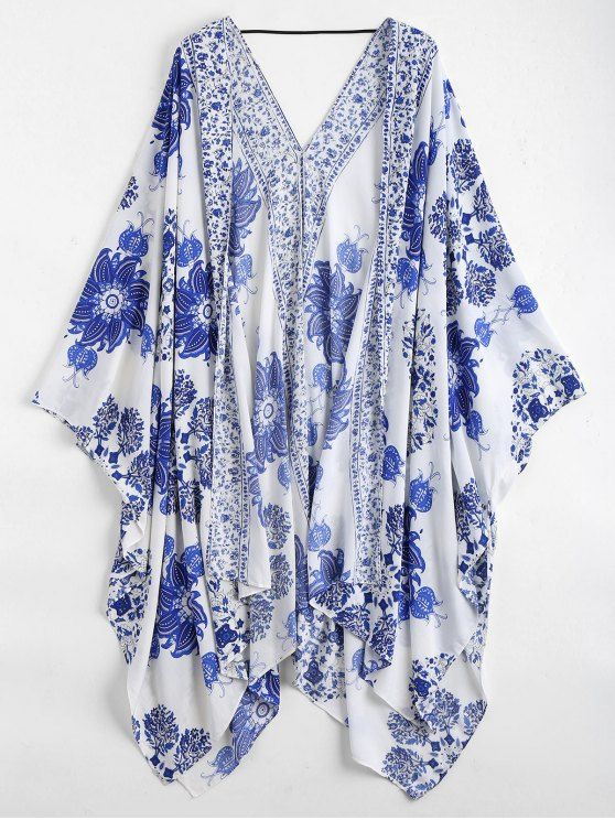 AD : Floral Kimono Cover Up - BLUE AND WHITE   Retro floral printed cover up featuring a open front design, batwing shape, low cut back and a string. Asymmetric kimono cover up.  Cover-Up Type: Kimono   Gender: For Women   Material: Polyester   Pattern Type: Floral   Weight: 0.3300kg   Package: 1 x Cover Up