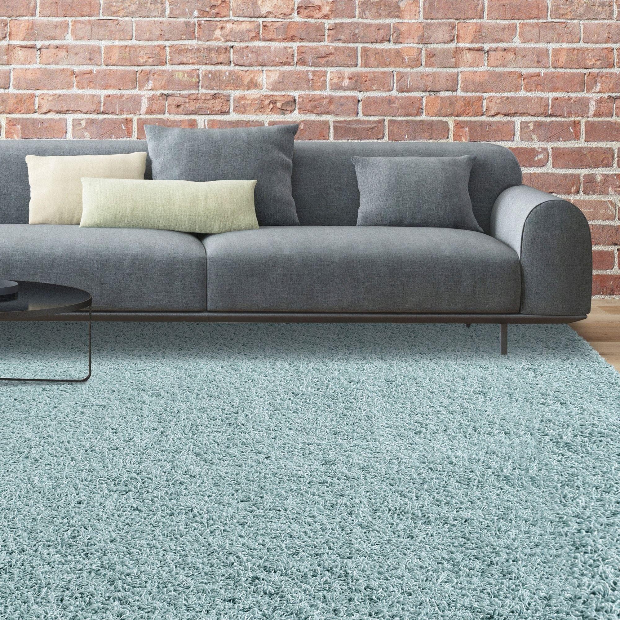 Icustomrug bella shag rug luxurious and thick in light blue u x