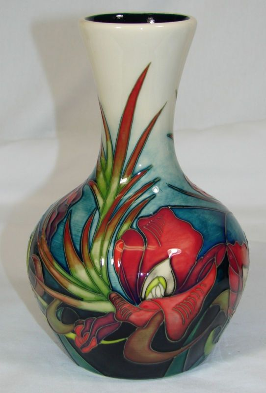 Moorcroft Pottery | MOORCROFT Pottery SATIN FLOWER Vase Nichola Slaney 2009