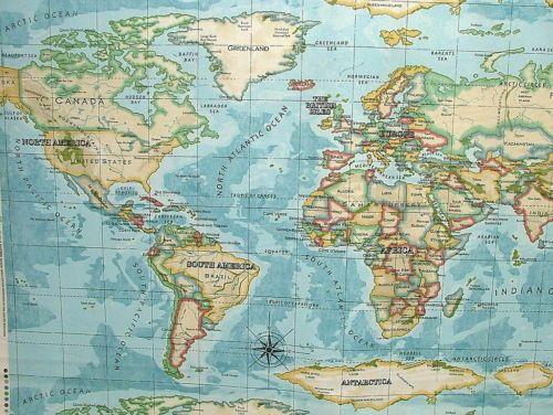 Prestigious atlas world map azure designer cotton curtain upholstery prestigious atlas world map azure designer cotton curtain upholstery fabric in crafts fabric gumiabroncs Images