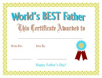 Printable Father's Day Best Father Award Certificate | Learning is ...