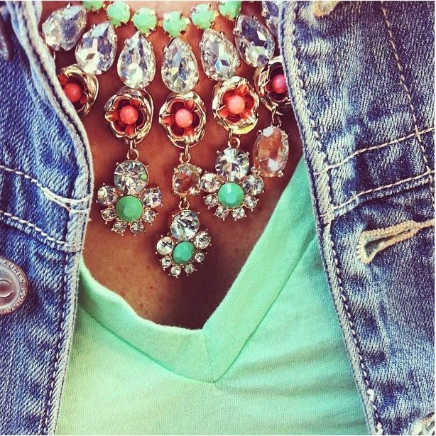 Love the statement necklaces with mint t-shirts. I would pick a dif jacket though