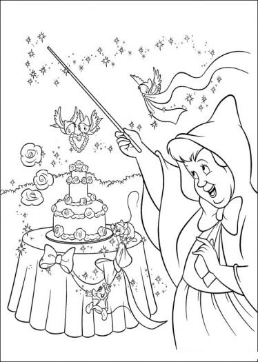 The Fairy Makes A Wedding Cake Coloring Page Super Coloring Cinderella Coloring Pages Fairy Coloring Pages Wedding Coloring Pages