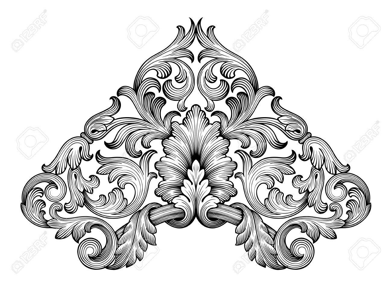 38656307-Vintage-barroco-esquina-marco-de-la-hoja-de-desplazamiento ...