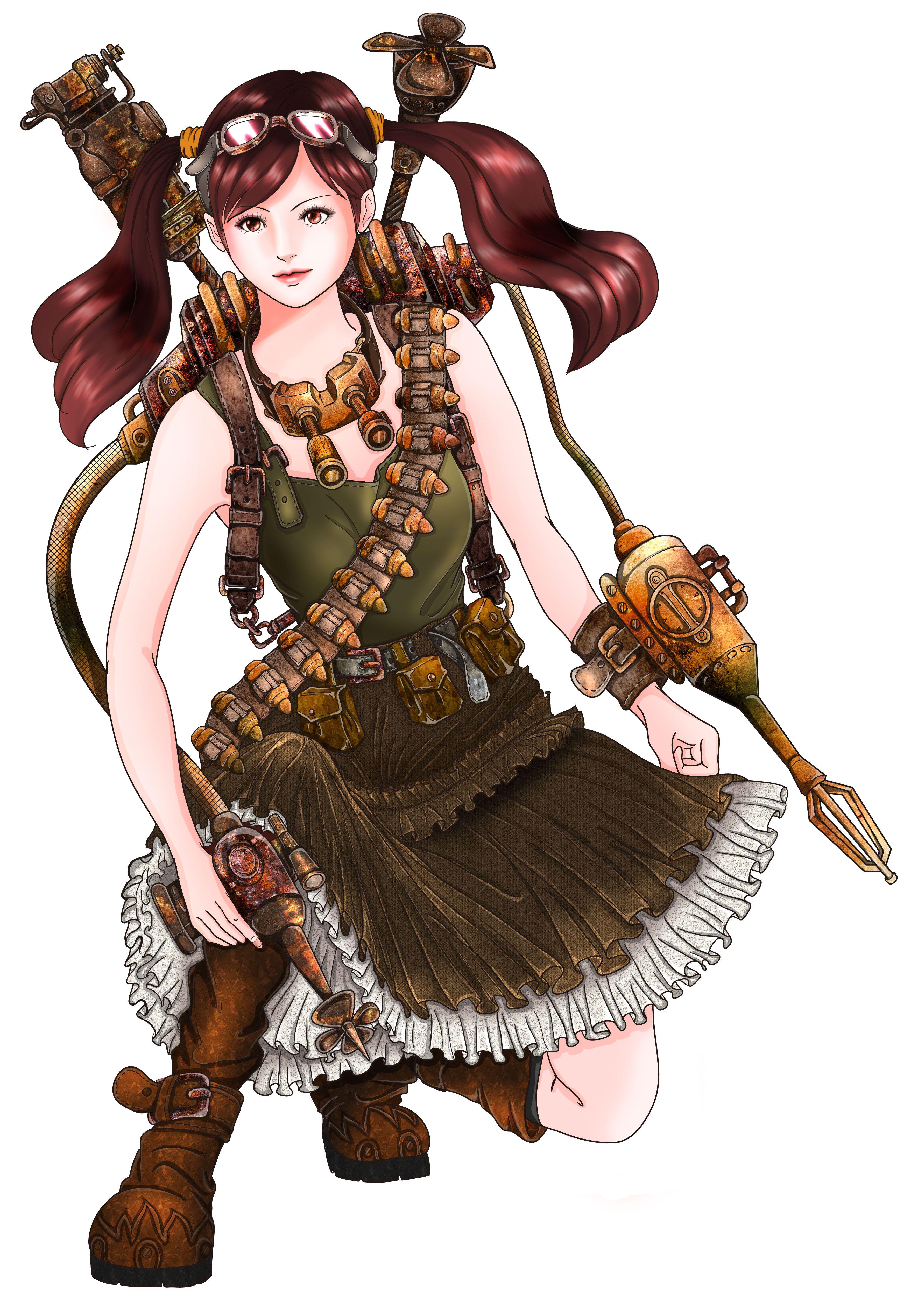 スチームパンクな女子のイラストを描いてみました 幻想的なイラスト