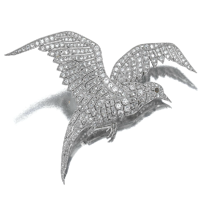 Diamond brooch 'Mouette', Van Cleef & Arpels, circa 1926. Designed as a bird in flight pierced and millegrain set with rose and circular cut diamonds with a cabochon gemstone eye, mounted in platinum.