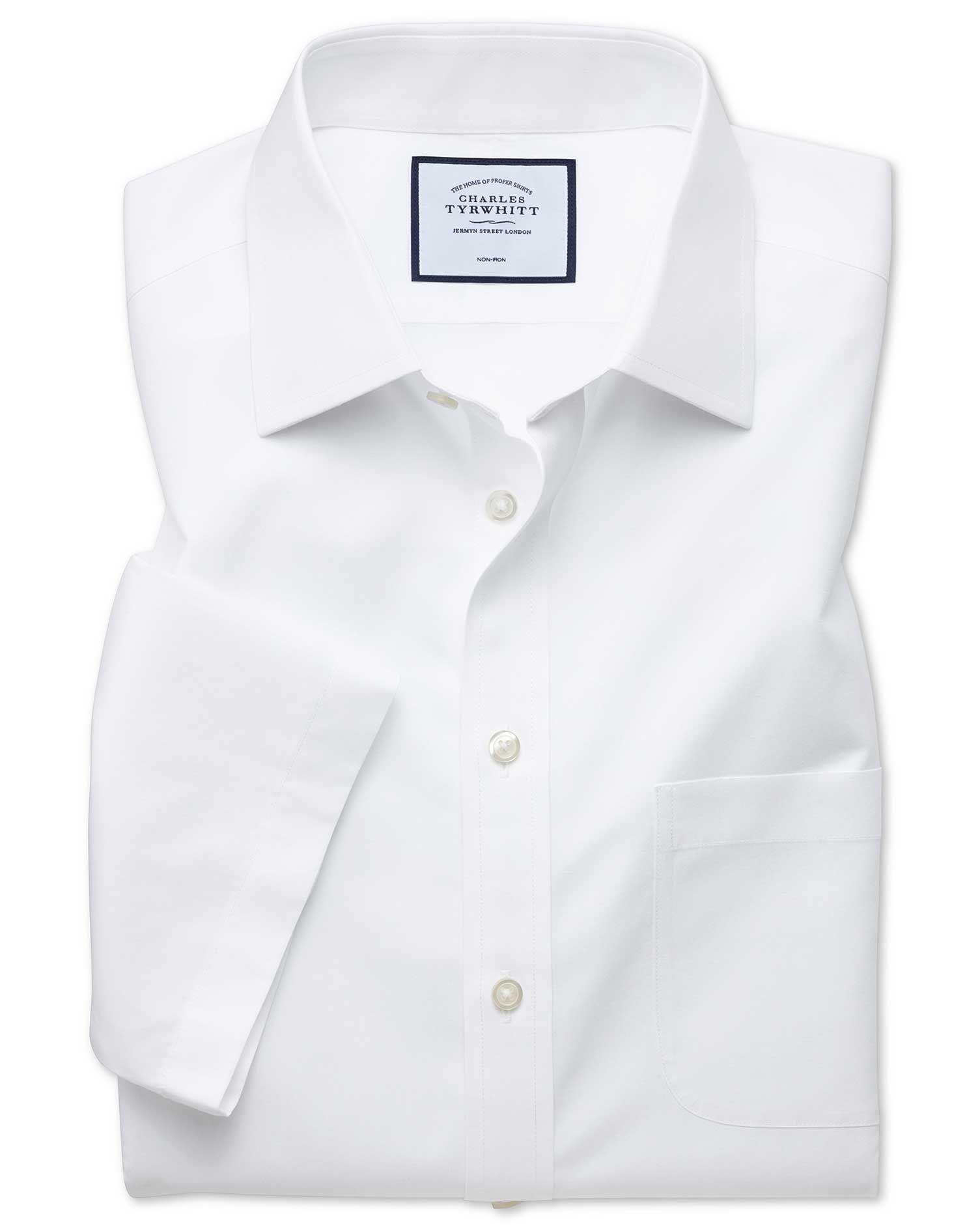 Slim Fit Non-Iron White Tyrwhitt Cool Short Sleeve Cotton Dress Shirt Size 17.5/Short by Charles Tyrwhitt #shortsleevedressshirts
