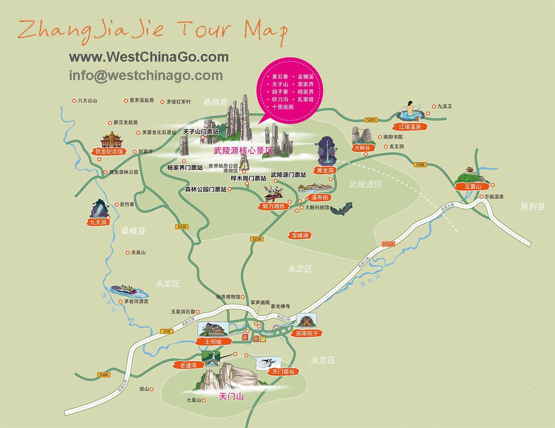 Zhangjiajie tour map travel guide westchinago info zhangjiajie tour map travel guide westchinago infowestchinago gumiabroncs Images