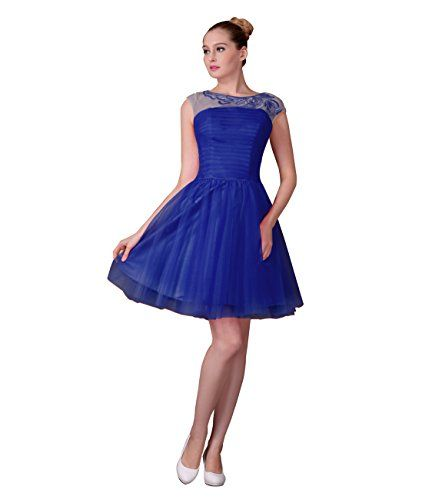 Miya Chiffon Prom Dress Short Party Dress With Lace Applique For ...