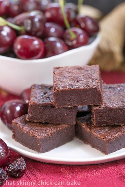 Cherry Chocolate Brownies |  Super dense, fudgy and full of wine infused dried cherries