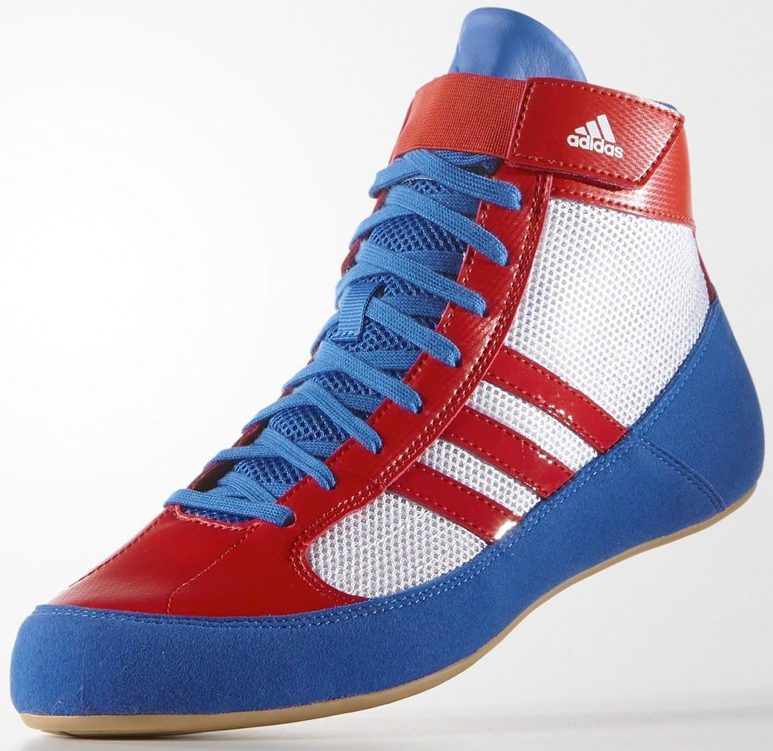 adidas blue and white wrestling shoes