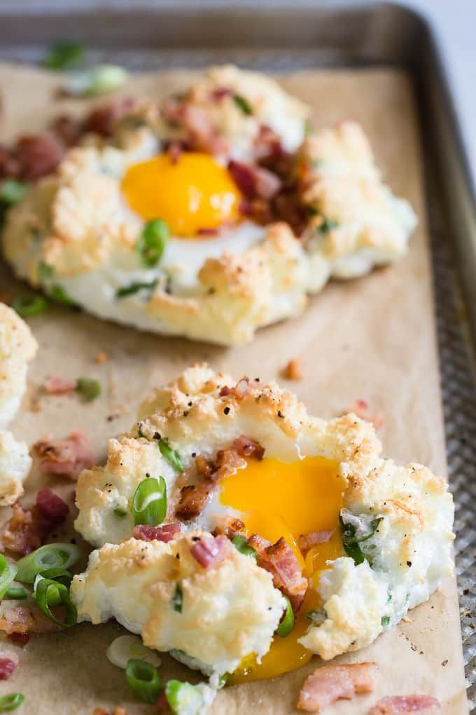 Cloud Eggs with bacon and Gruyere #cloudeggs