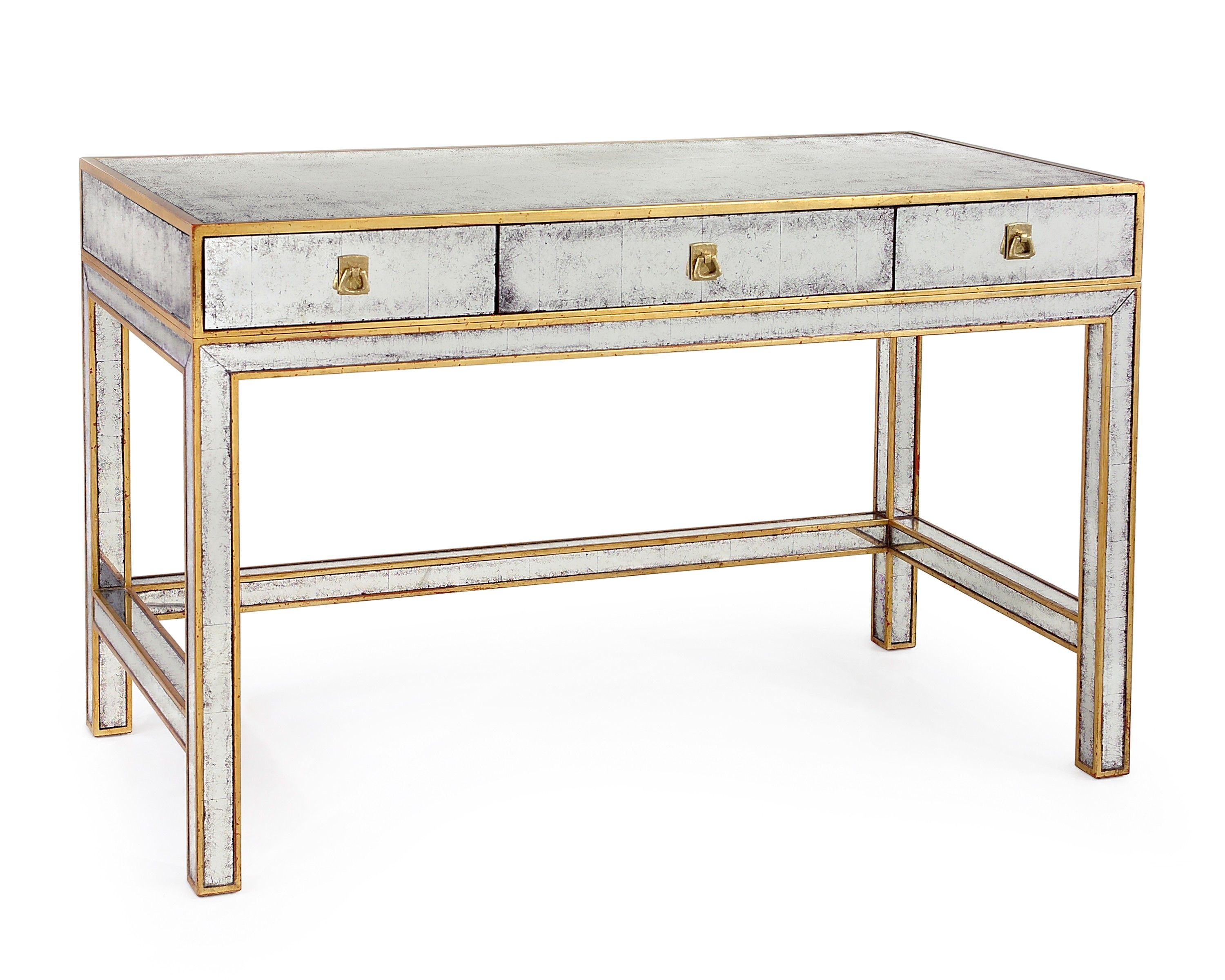 Leighton Black Two Drawer Modern Desk With Gold Legs And Gold Hoop