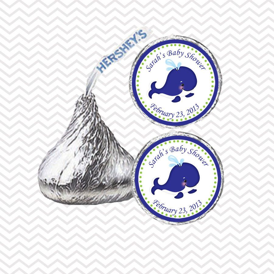 Preppy Blue Whale Baby Shower - Personalized Hershey Kiss Stickers, Hershey Kiss Labels, Party Favors, Favor Sticker by sharenmoments on Etsy https://www.etsy.com/listing/166940720/preppy-blue-whale-baby-shower
