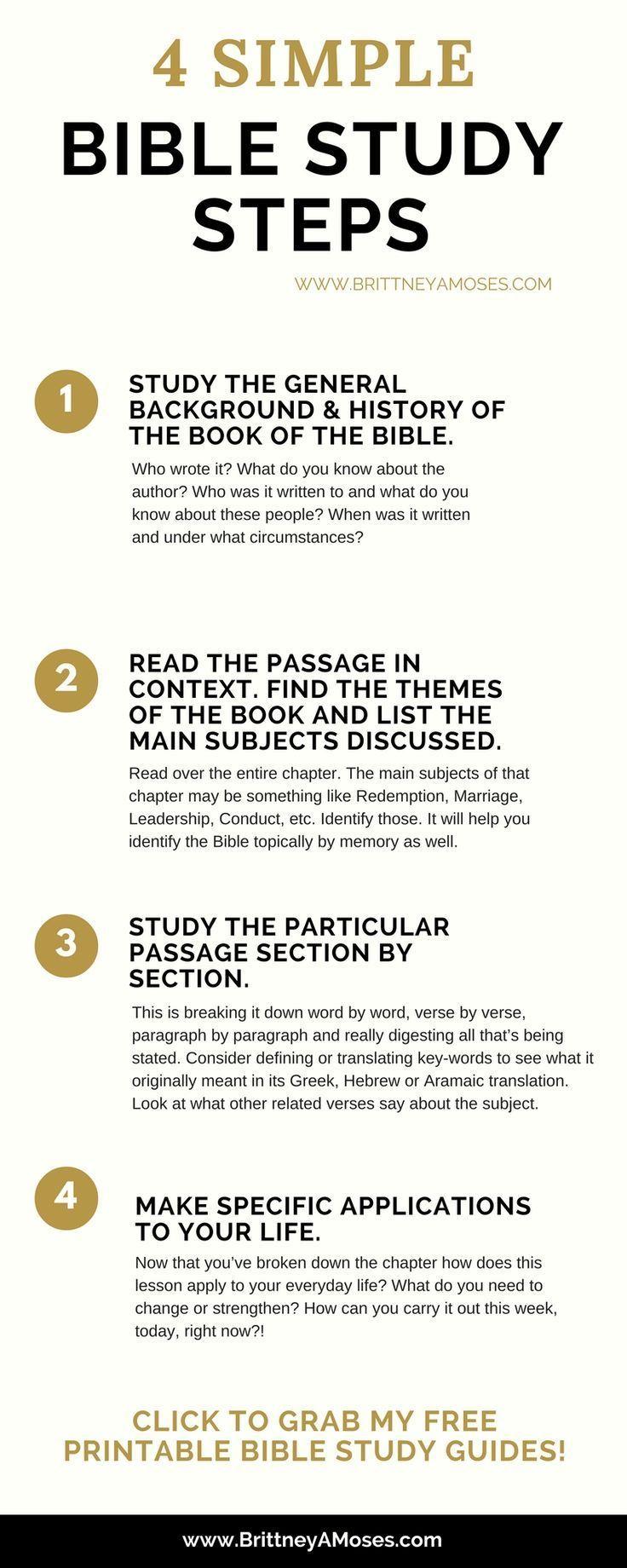 4 Simple Bible Study Steps | Bible study plans, Bible ...