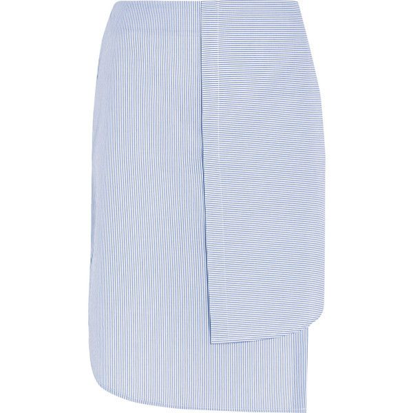 Dion Lee Layered striped cotton-poplin skirt (€370) ❤ liked on Polyvore featuring skirts, dion lee, white, white layered skirt, striped skirt, layered skirt and white skirt