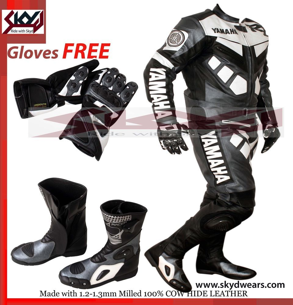 Black gloves races - Details About Yamaha Gray Black Racing Leather Motorcycle Suit Shoes Glove Any Logo R1 R R6