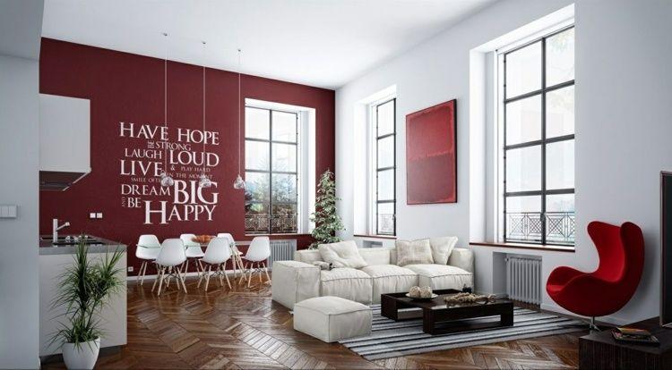 Mit Farben einrichten - Wohnzimmer und Küche in Weiß und Rot Déco