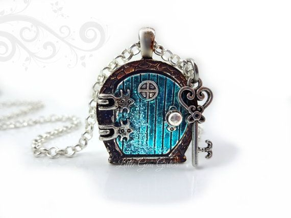 Fairy Door Locket Necklace - Alice in Wonderland Door Charm - Aqua Blue Sparkly Door with  sc 1 st  Pinterest & Fairy Door Locket Necklace - Alice in Wonderland Door Charm - Aqua ...