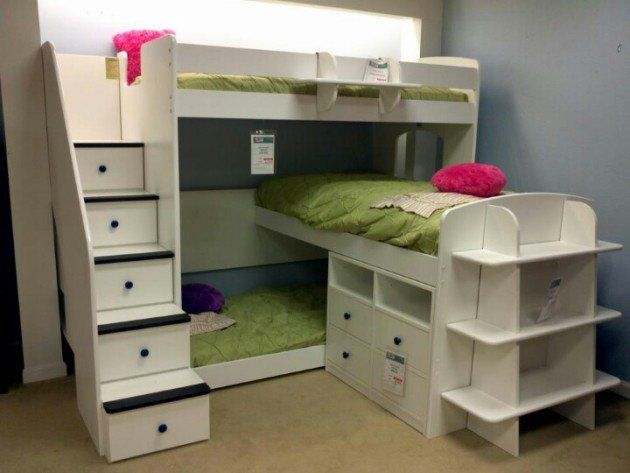 20 Efficent Solutions For Decorating Triplet Bedroom Bunk Bed Designs Bunk Beds With Stairs Kids Bunk Beds