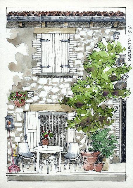 JR Sketches: Italia 6º Set 2012. 17x24, Pen & Watercolor ...
