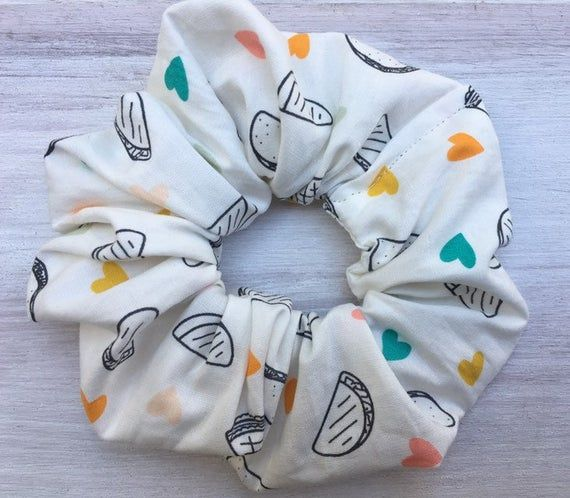 Taco Hair scrunchie, taco hair scrunchies, handmade hair scrunchy, cotton hair scrunchie, cotton hai #hairscrunchie