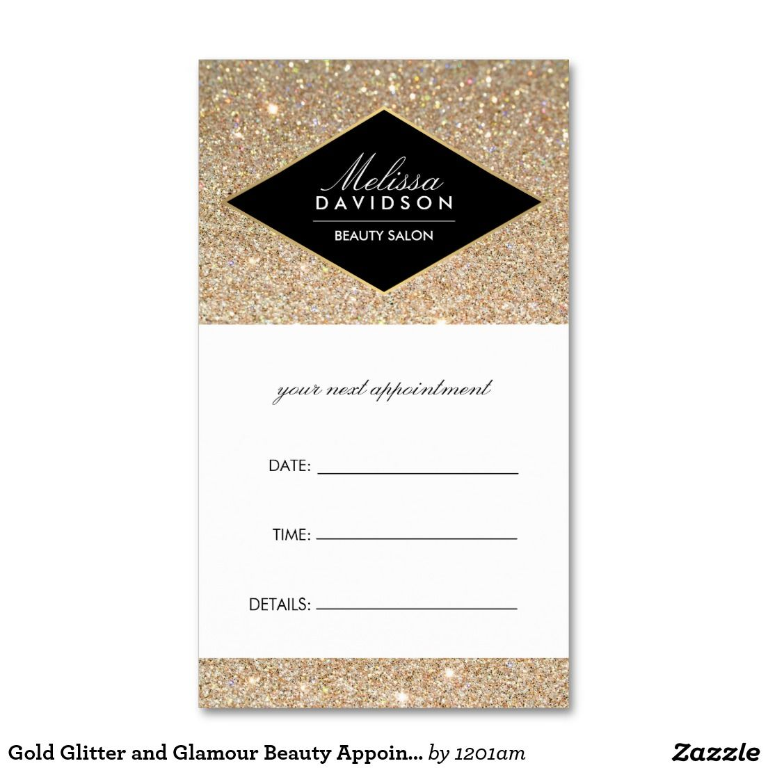 Gold Glitter And Glamour Beauty Salon Appointment Card Double