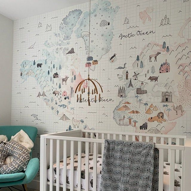 Kids Wallpaper Soft World Map Wall Mural Little Animals and Famous Landmarks Wall Print Childroom Play Room