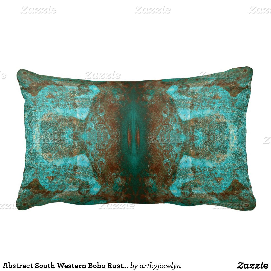 Abstract South Western Boho Rust Teal Mirrored Lumbar Pillow ...