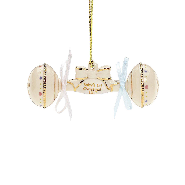 Lenox annual china ornaments babyus st christmas rattle