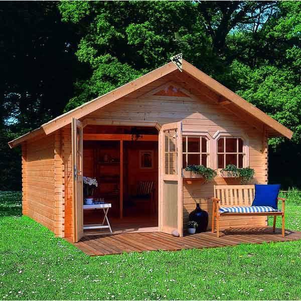 Abri de jardin en bois 17,39m² - madriers 40mm, Karibu - Maison