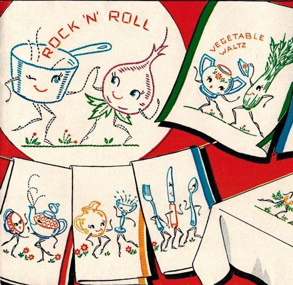 1950s Vogart 260 UNCUT Vintage Embroidery Transfer Pattern Dancing ...