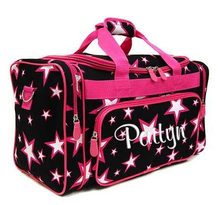 7e8e1f8517 Personalized Duffle Bag Stars Black Pink. Great over night bag for Karen