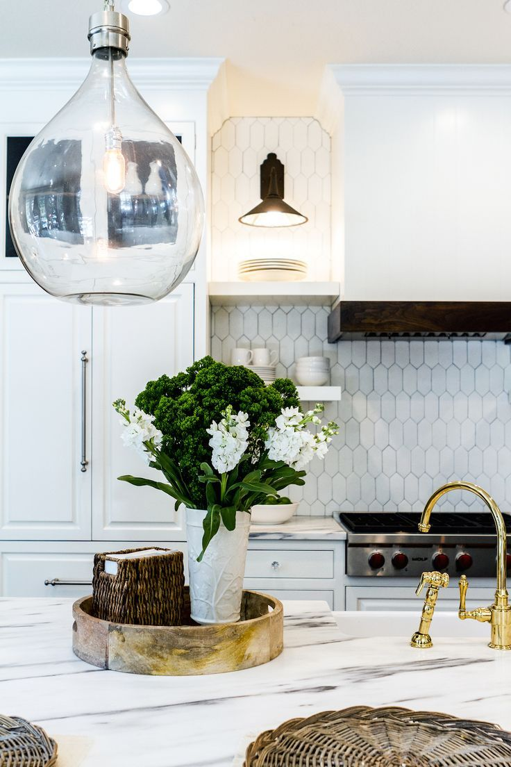 Marble Tile Kitchen Backsplash | Marble Kitchen Island With Orb Pendant Possible Home Pinterest