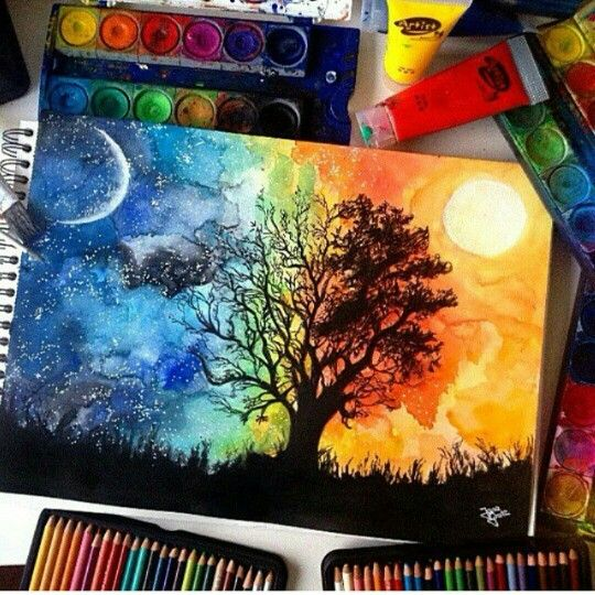 Water Color Night To Day Artwork Drawings Art