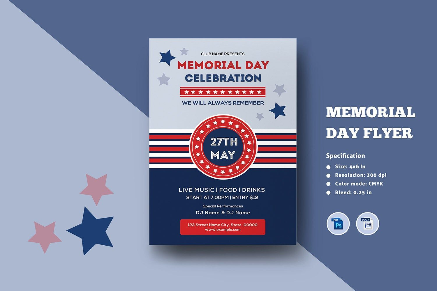 Us Memorial Day Flyer Template Memorial Day Celebration Etsy Memorial Day Celebrations Memorial Day Flyer